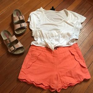 Orange scallop shorts